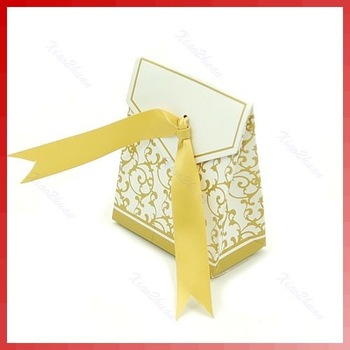 Wholesale 50 Pcs Gold Ribbon Gift Bags Wedding Favor Candy Paper Boxes