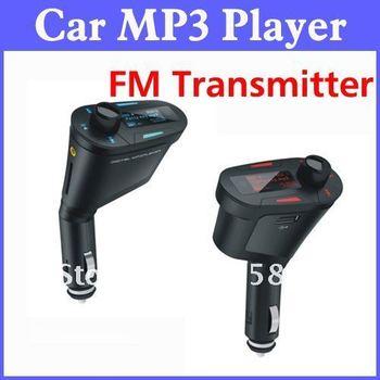 Free Shipping Car Mp3 Player Wireless FM Transmitter MP3/WMA Player USB SD MMC Slot 5pcs/lot