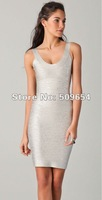 Free Shipping Hl Women's Body Printing Silver U-Neck Tank Mini Cocktail Bandage Party Dress