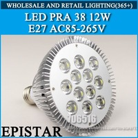 Wholesale E27 12W 12 * 1W Par 38 LED Bulb Lamp AC85-256V Cold white/warm white Free Shipping
