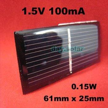 1.5V 100mA MONOCRYSTALLINE Mini Solar Power Cell PCB Panel Charge Battery 4 LED B