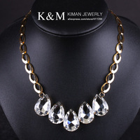 Ожерелья и Кулоны K&M-Wonderful Design handmade big crystal with CZ diamond necklace NK-02015