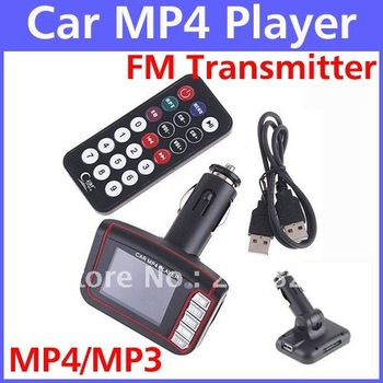 "Free Shipping Car MP4 Player 1.8"" LCD Car MP4/MP3 Player with FM Transmitter Remote Control SD/MMC USB Flash Drive Read 5pcs/lot"