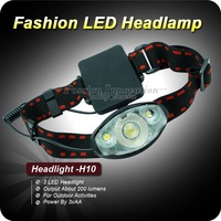 1PC H10 Headlamp 200LM 3*LED HeadLight 3 Mode Waterproof Headlamp Hiking Headlight Power By 3x AA