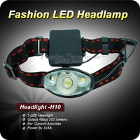 1PC H10 Camping Night Outdoor High Power 3 Mode 3XLED HeadLight Headlamp Power By 3x AA Free Shipping