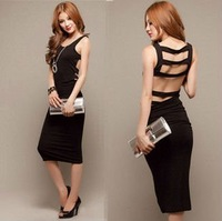 free shipping FY0421 lady sexy back elegant black cotton cocktail long party dress