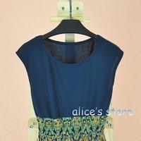 Personality waist sleeveless vest skirt  chiffon mosaic sweet retro dress