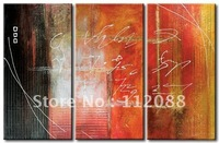 Free shipping!High quality!100% handmade  Modern decor group abstract oil painting on canvas,red &black group painting 12x24x3in