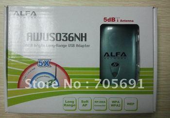 Free shipping!ALFA AWUS036NH 1000mW high power wifi wireless usb adapter. 5db antenna