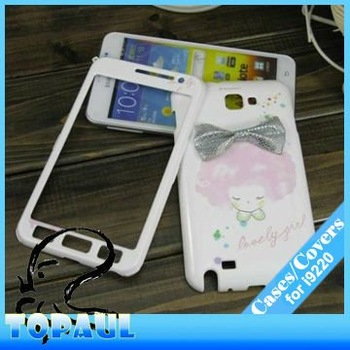 Fashion design gril plastic case for i9220, plastic protector cover for galaxy note, bear case for samsung, i22010 free shipping