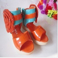 Free shipping 2012 new fashion girls Roman flower sandals