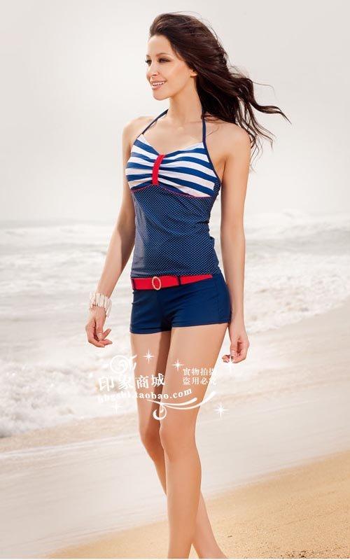 2012 new bathing suits for women,swimmear,Women's boxer split swimsuit,navy ...