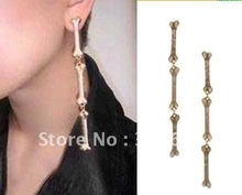 New Arrival! Wholesale vintage PUNK cool silver & gold skeleton metal bone drop earrings, cross earrings, retro, antique jewelry(China (Mainland))