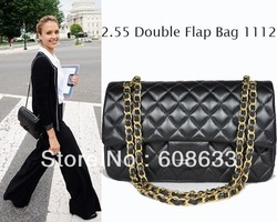 Free Shipping VINTAGE 2.55 Quilted Flap Bag Black Women&#39;s Lambskin Double Flaps bag Gold Hardware Silver Hardware 1112 Bag(China (Mainland))