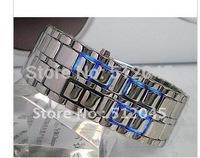 wholesale 20 pcs Newest fashion Lava style iron samurai red light metal Men's LED watch,Free shipping