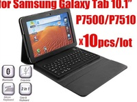 "10pcs free ship dhl,Bluetooth Wireless Keyboard Case for Samsung Galaxy Tab 10.1"" P7510 P7500, for p7510 leather case cover"