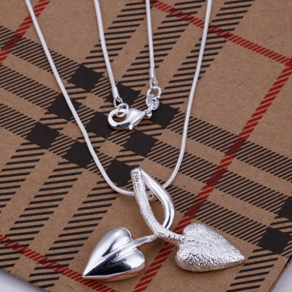 N161 factory price fashion jewelry 925 silver necklace double leaves pendants necklace chain costume jewellery free shipping(China (Mainland))