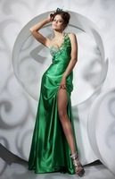 Free Shipping !one-shoulder satin flowers beaded front splited asymmentric weep train dresses evening dress new fashion