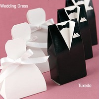 Wholesale Wedding Favors Candy Gifts Box/ Short Wedding Dress And Tuxedo Favor Holders / Free Shipment 100pairs/Lot
