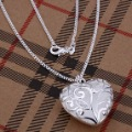 N224 wholesale fashion jewelry 925 silver necklace heart pendant necklace silver costume jewellery gift
