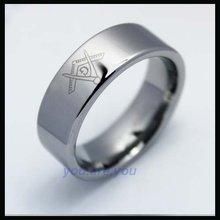 10pcs Mirror Polish Men's Masonic Logo Tungsten Ring Jewelry Fashion Size 8 – 12
