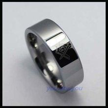 10pcs Mirror Polish Men s Masonic Logo Tungsten Ring Jewelry Fashion Size 8 12