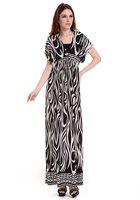 Free Shipping Lady Women's Summer Wear Double V-Open Nipped-Waist Zebra-stripe Longuette Dress
