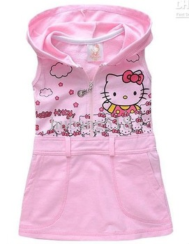 Children dresses Free Shipping Girls Hello Kitty pink cotton printed vest dress