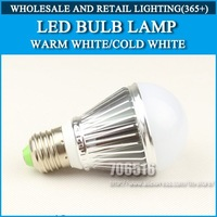 LED Bulbs high power 5W AC85-265V Silver Warm white/cold white E27 E14 GU10 B22 GU5.3 Free Shipping / DHL
