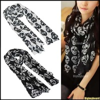 10x Fashion Women Big Skull Head Skeleton Soft Long Shawl Scarf Wrap Stole Free Shipping