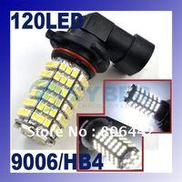 Wholesale 2x 9006 HB4 Socket 120 Led White Fog Light Lamp halogen Bulbs Car Headlamp free shipping 2703