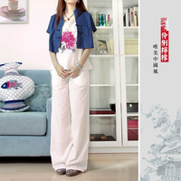 Free Shipping* White blue black national trend Women loose casual trousers 2012