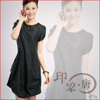 2012 tortoise women's summer silk buttercup silk one-piece dress mulberry silk short-sleeve cheongsam dress a