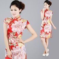 Free Shipping* 2012 new arrival cheongsam silk female summer one-piece dress 2001a @Cheongsam