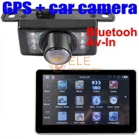 car reverse camera + 7'' HD Car GPS navigator Bluetooth AV-IN 4GB TF Card
