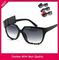 Wholesale and Retail new fashion summer sunglass wide frame with bow accessory black and red color 12pcs/lot