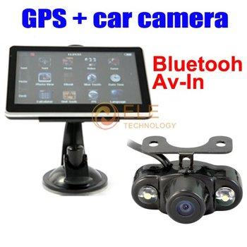 FREE SHIPPING  5 inch gps with camera,4GB,Bluetooth,FM,AV IN