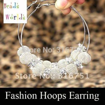 Hot Sale Free10pcs Silver Basketball Wives Mesh Ball Beads Hoop Earrings W/ Rhinestone Spacer Beads W01688 F Aa