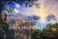 Thomas Kinkade Print Art Painting Pinocchio Wishes Upon A Star On Canvas Never Fade .. @T17