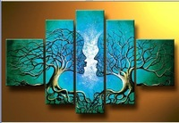 Картина 100% Hand painted sun giraffe Lake forest elephants landscape Oil Painting canvas5pcs/set wood Framed