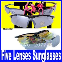 Riding outdoor sports bike sun glasses, myopia goggles eyewear, five lenses Free Shipping