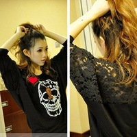free shipping new hot fashion women ladies clothes t shirt blouse Back crochet skull loose bat sleeve T shirt