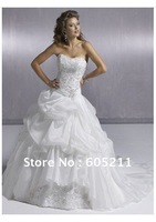 2012 ivory / white Wedding Dress With embroider bead paillette Decoration Chapel Train back lace up *i154* stock SIZE 6-14