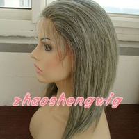 silky straight hair full lace grey wig for old women