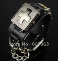 Free shipping  Punk Gothic Ladies Women Men Gens' Genuine Leather Wrist Watch