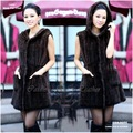CDK009 2012 most fashion long style knitted mink fur vest for lady in winter