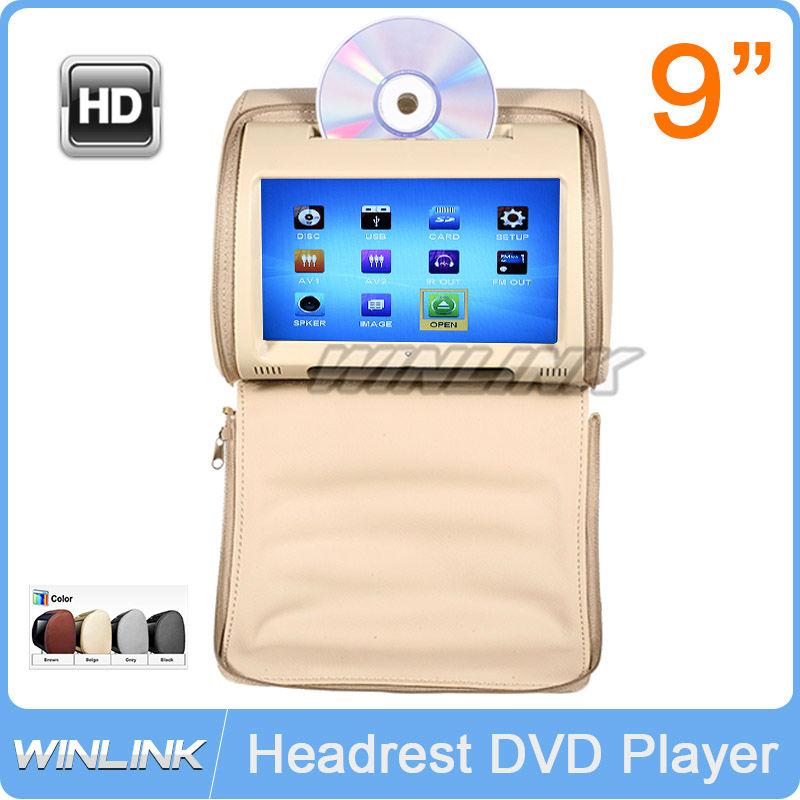 2015 New HD 9 inch Digital Touch Screen Car Headrest DVD Player +Free IR Wirelss Headphone 32Bit Game(China (Mainland))