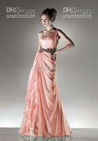 Wholesale - 2012 New Custom made Sleeveless One Shoulder Paillette Ruffle Chiffon Evending Dress ZO007