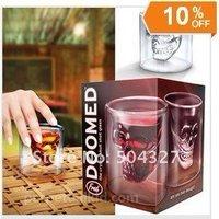 Free shipping 12 pcs Doomed Crystal Skull Shot Glass/Crystal Skull Head Vodka Shot Wine Glass Novelty Cup LS0012
