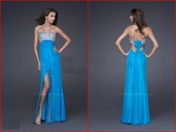 Cheap Strapless Chiffon Gown Front Slit Exquisite Sequin Prom Dresses 2011 Homecoming/Formal Dress(China (Mainland))